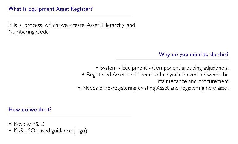 Equipment Asset Register