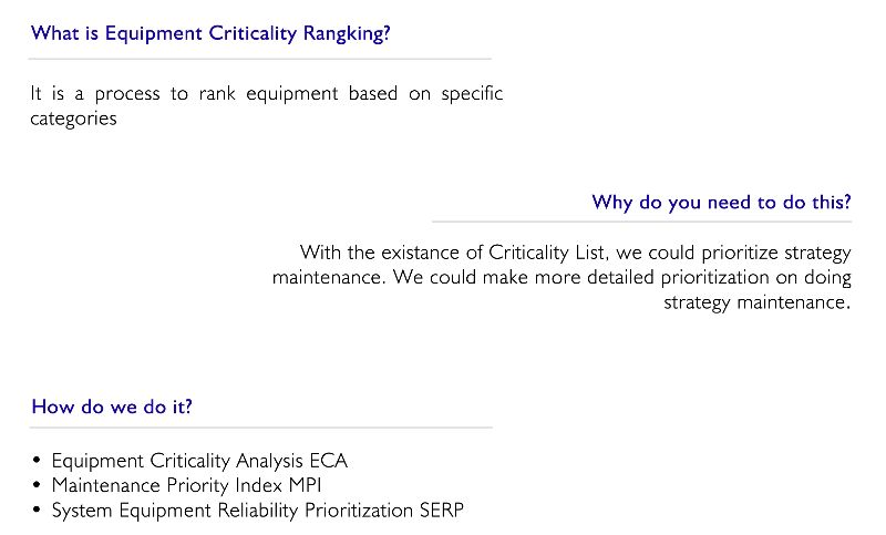 Equipment Criticality Ranking