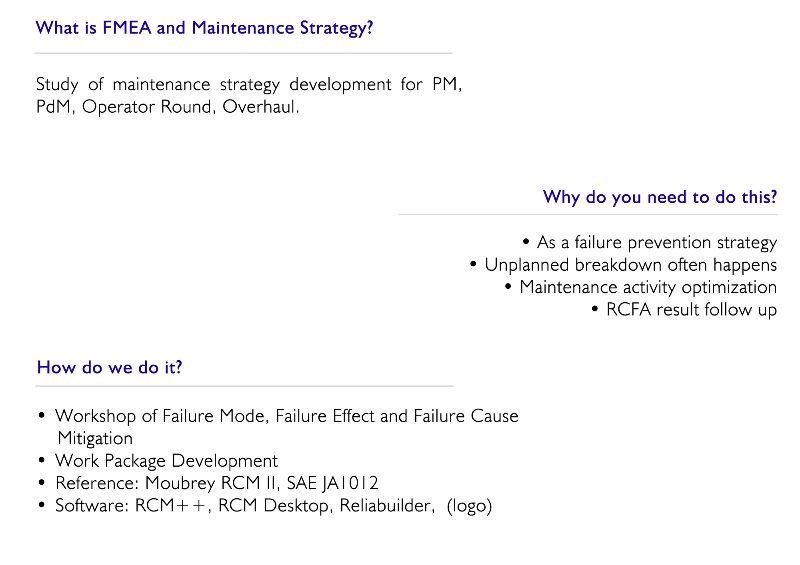 FMEA and Maintenance Strategy