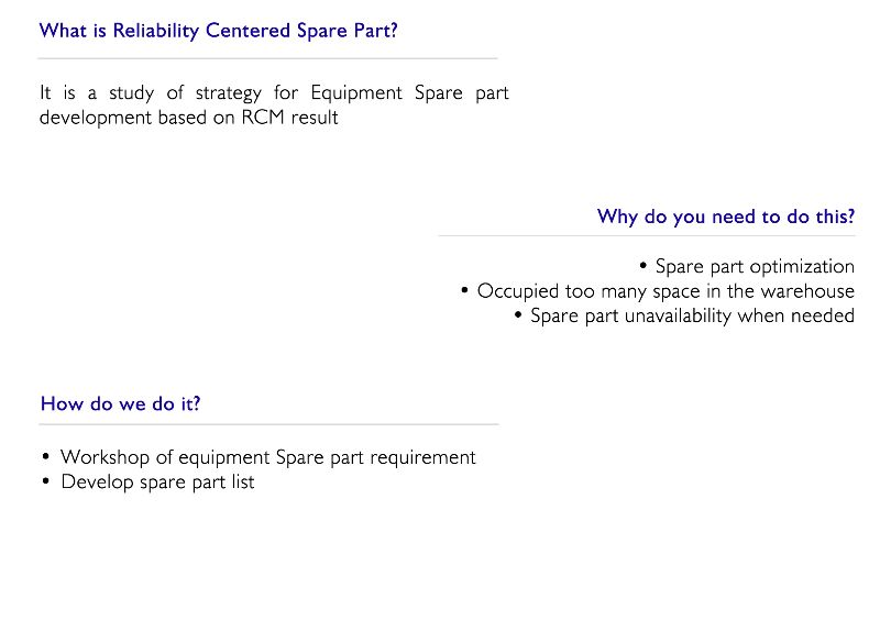 Reliability Centered Spare part