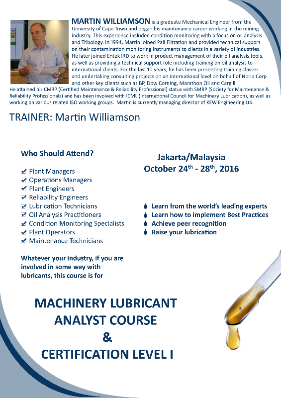Machinery Lubricant Analyst Certification Level I